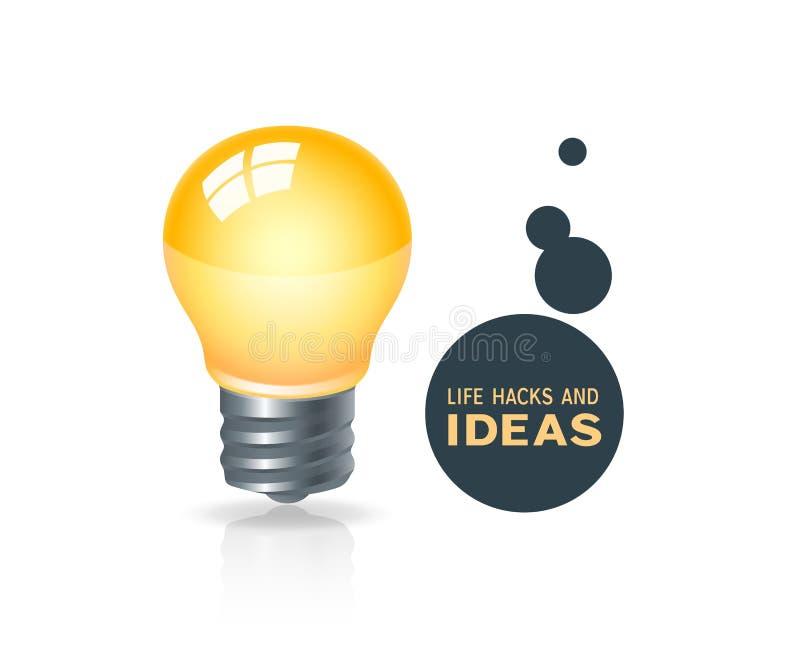Cortes da vida ou conceito das ideias do negócio com ícone da ampola ilustração stock