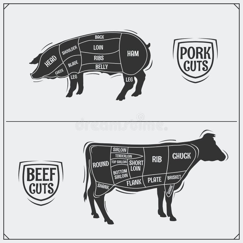 Cortes de carne de porco e de carne Método americano Estilo do vintage ilustração royalty free