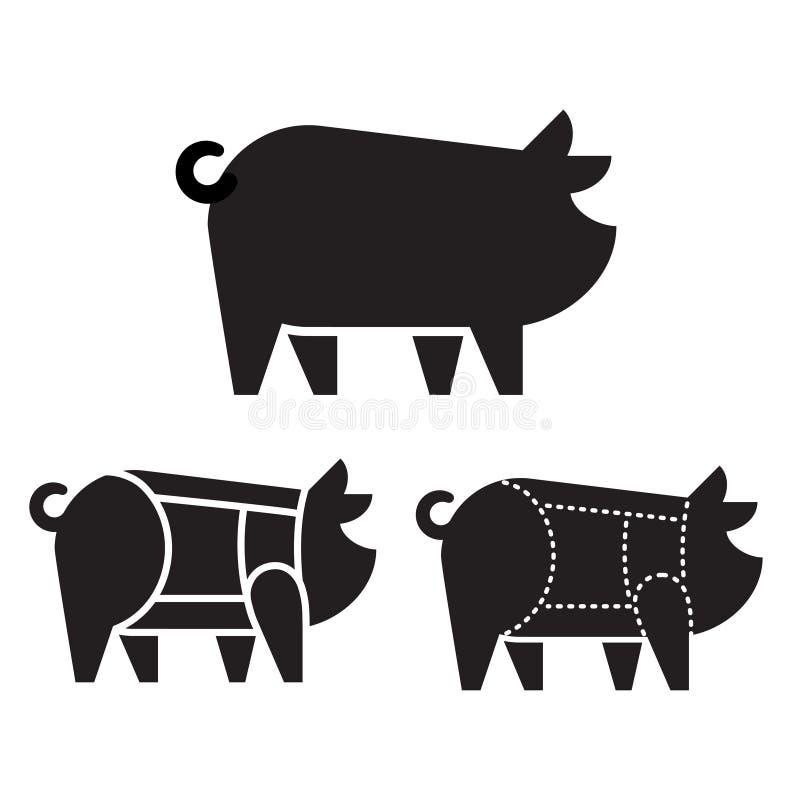 Cortes de carne de porco no porco ilustração royalty free