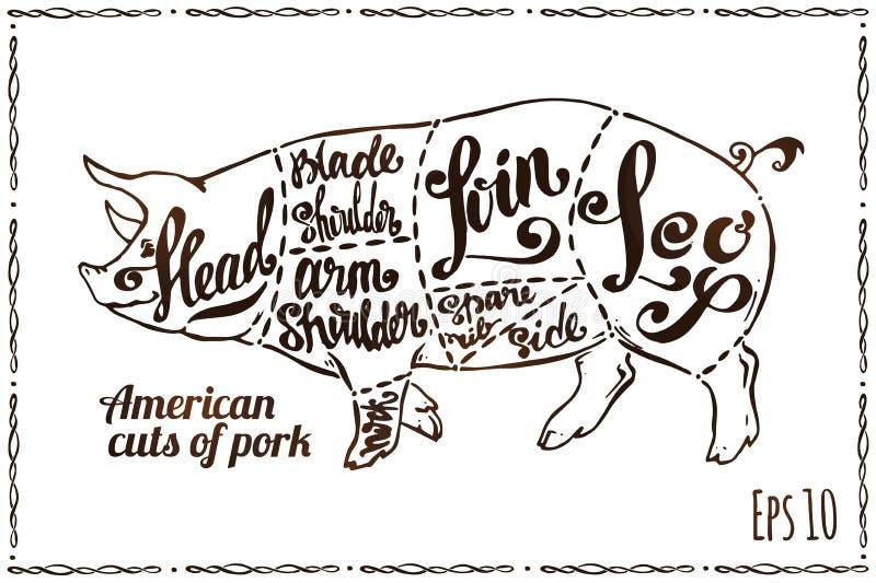 Cortes de carne de porco E ilustração stock