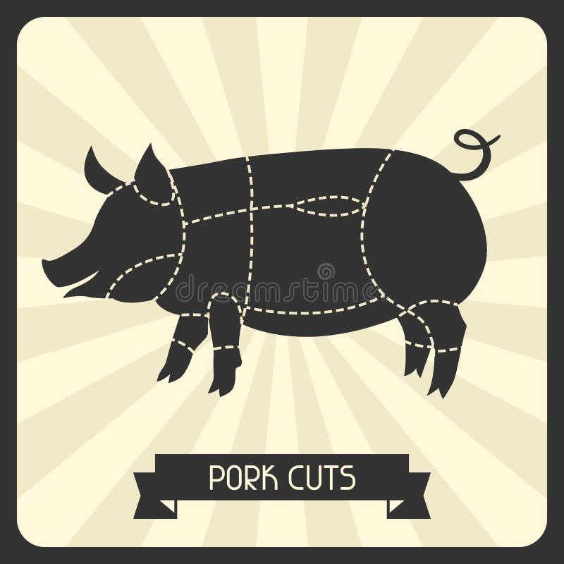 Cortes de cerdo Mata el ejemplo de la carne del corte del cheme libre illustration
