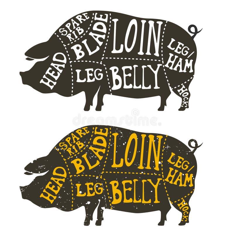 Cortes de la carne de cerdo ilustración del vector