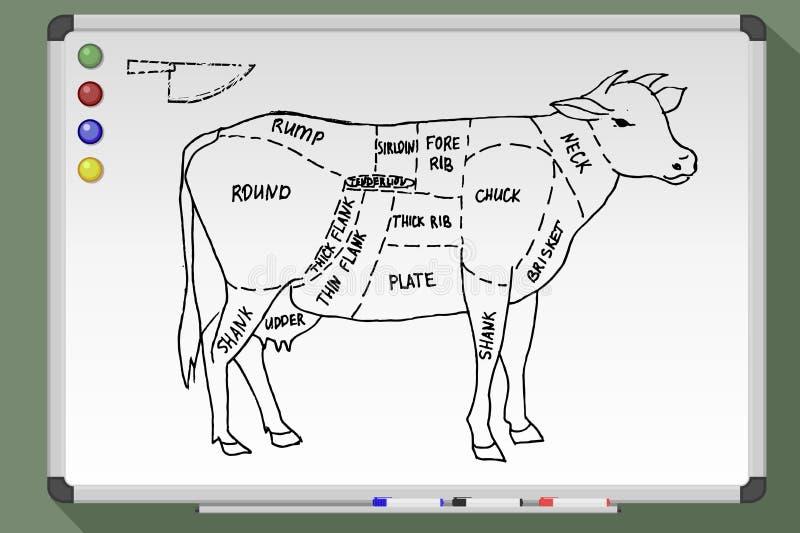 Cortes de la carne de vaca ilustración del vector