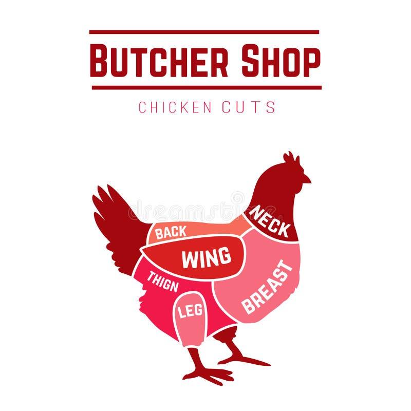 Cortes del diagrama del carnicero del pollo ilustración del vector