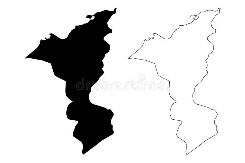 Cortes Department Republic of Honduras, Departments of Honduras map vector illustration, scribble sketch Cortés map.  vector illustration