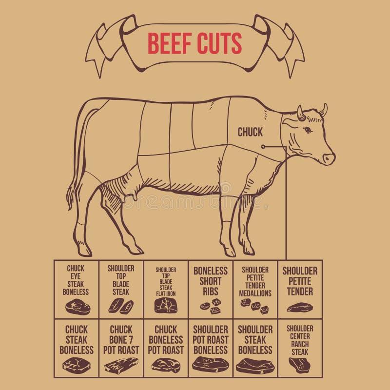 Cortes do carniceiro do vintage do vetor do esquema da carne ilustração stock
