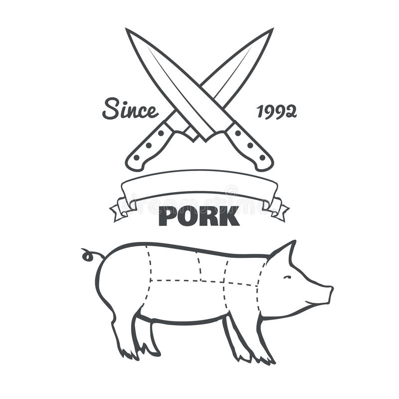 Cortes do carniceiro do vintage do vetor do giz do menu da carne de porco ilustração royalty free