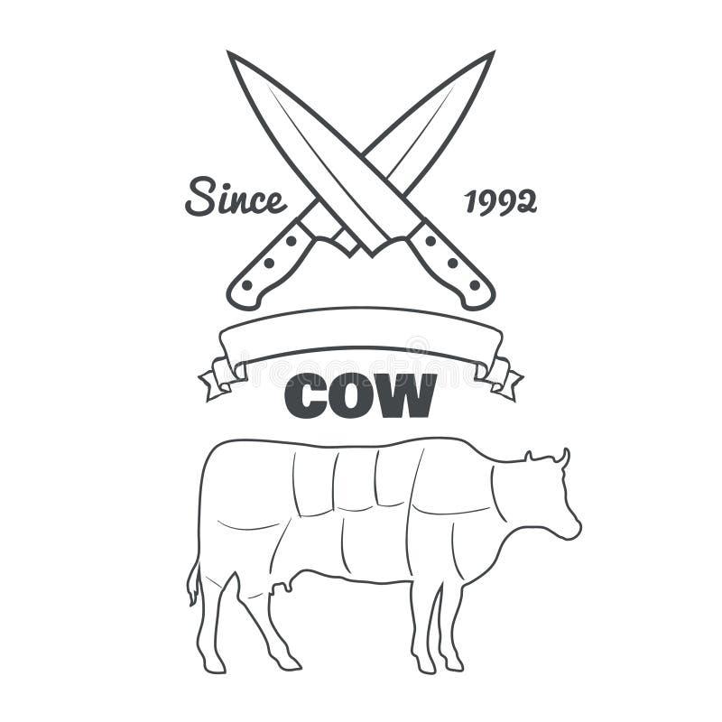 Cortes do carniceiro do vintage do vetor do giz do menu da vaca ilustração stock