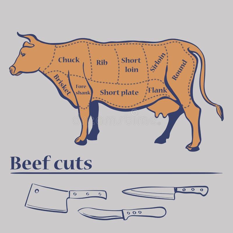 Cortes do vetor da vaca ilustração do vetor
