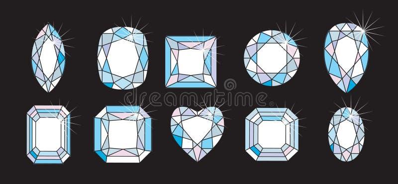 Cortes e formas do diamante ilustração do vetor