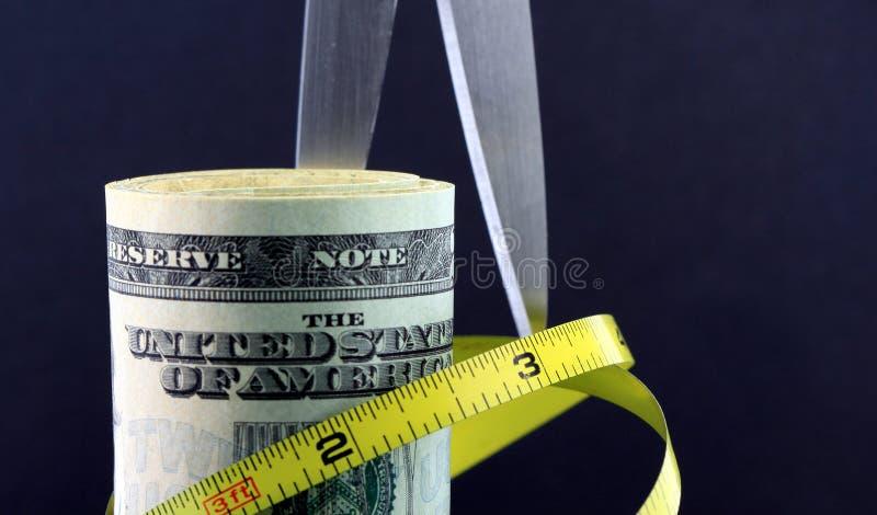 Cortes em o orçamento/inflação imagem de stock