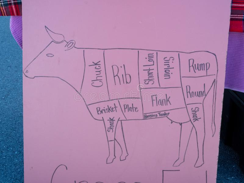 Cortes tirados mão da carta da carne na placa cor-de-rosa do cartaz no mercado imagens de stock royalty free