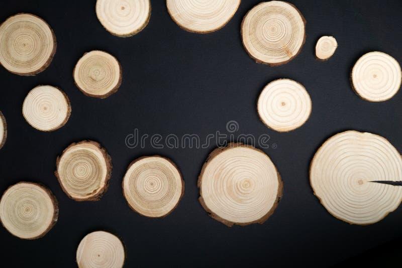 Cortes transversales del árbol de pino con los anillos anuales en fondo negro Primer del pedazo de la madera de construcción, vis imagen de archivo libre de regalías