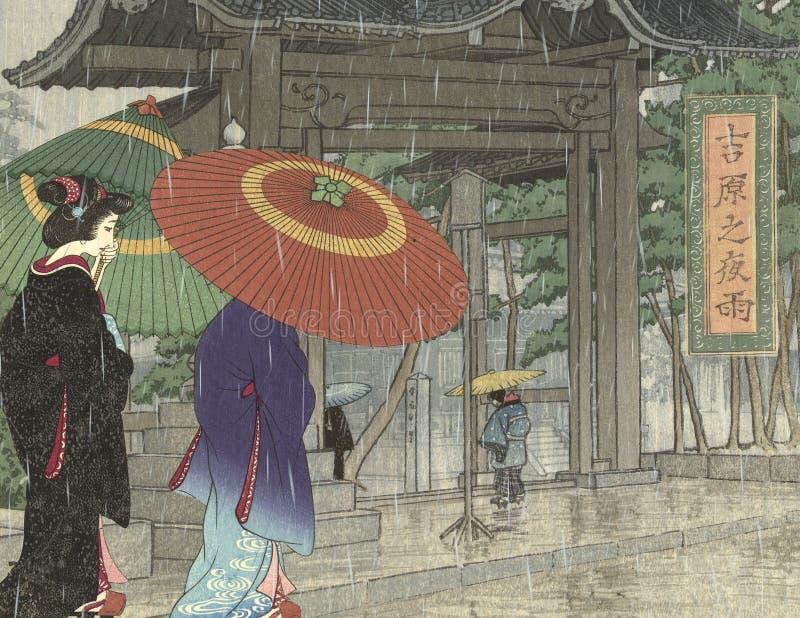 Cortesanas japonesas del vintage - escena lluviosa de la ciudad - escena de la calle - Japón - siglo XVIII stock de ilustración