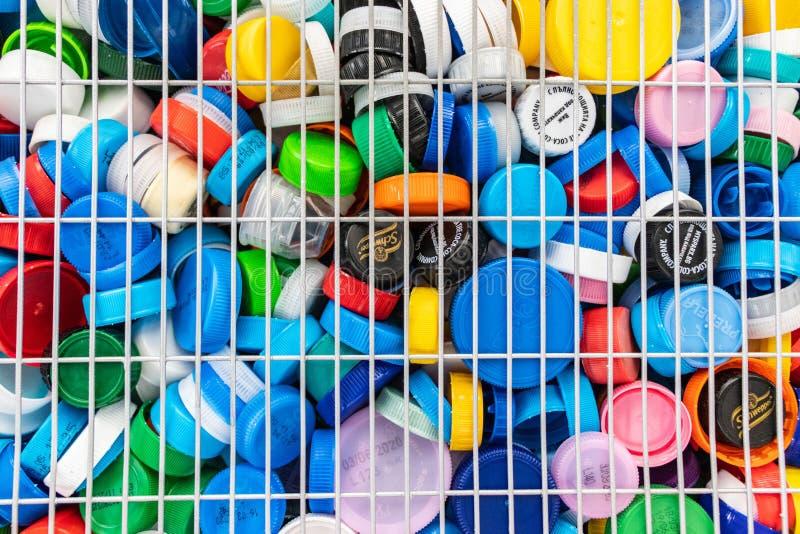 Cortiça de plástico para caridade Bulgária Varna 26 12º 2019 imagens de stock royalty free