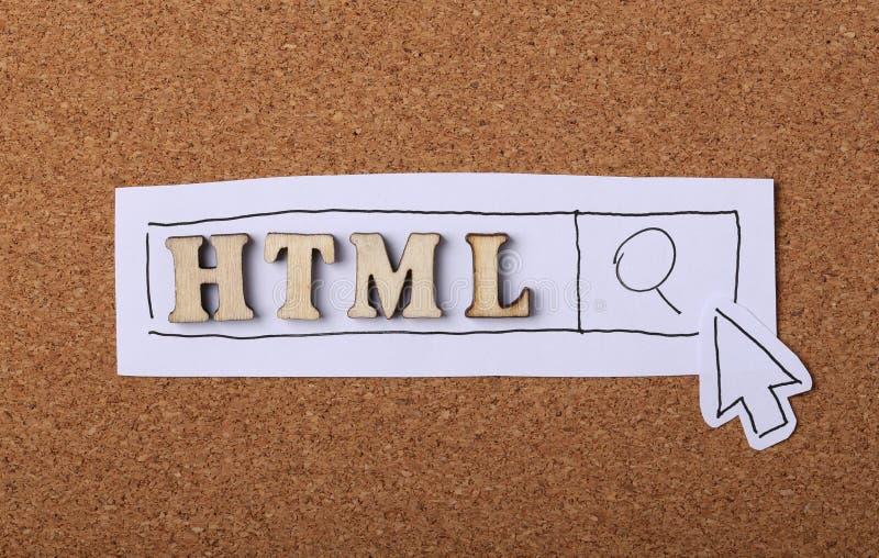 Cortiça do conceito do HTML fotos de stock