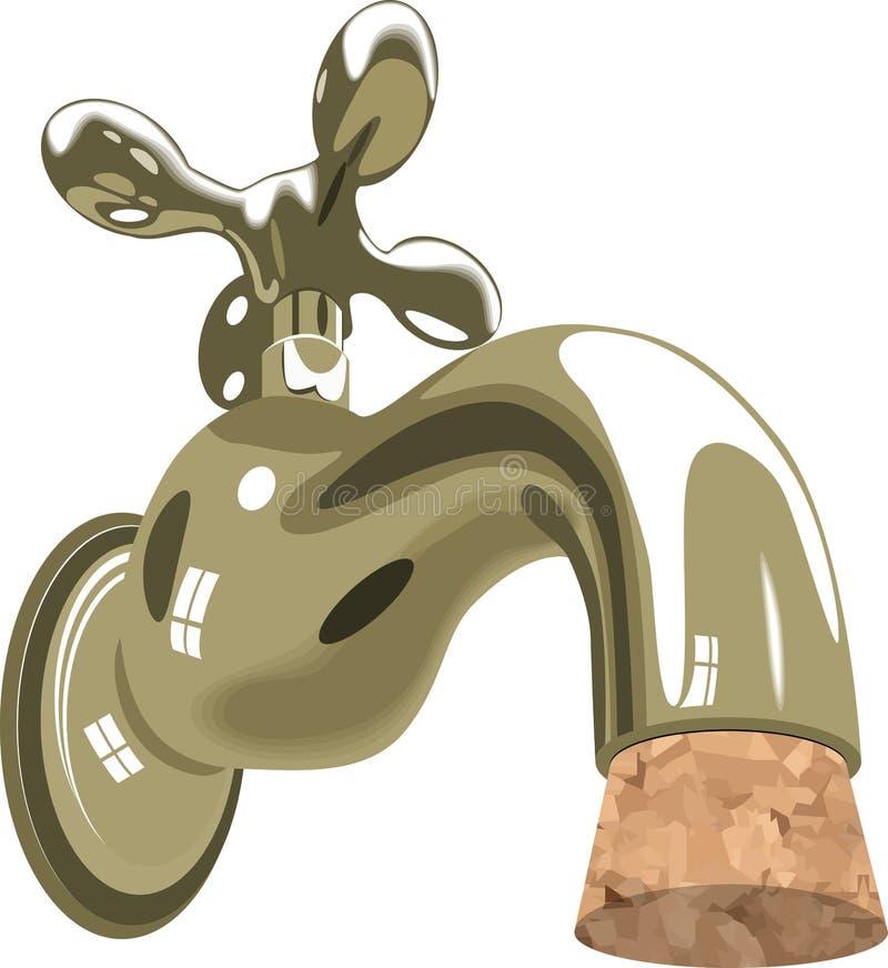 Cortiça do encanamento do dissipador do água da torneira do Faucet ilustração do vetor