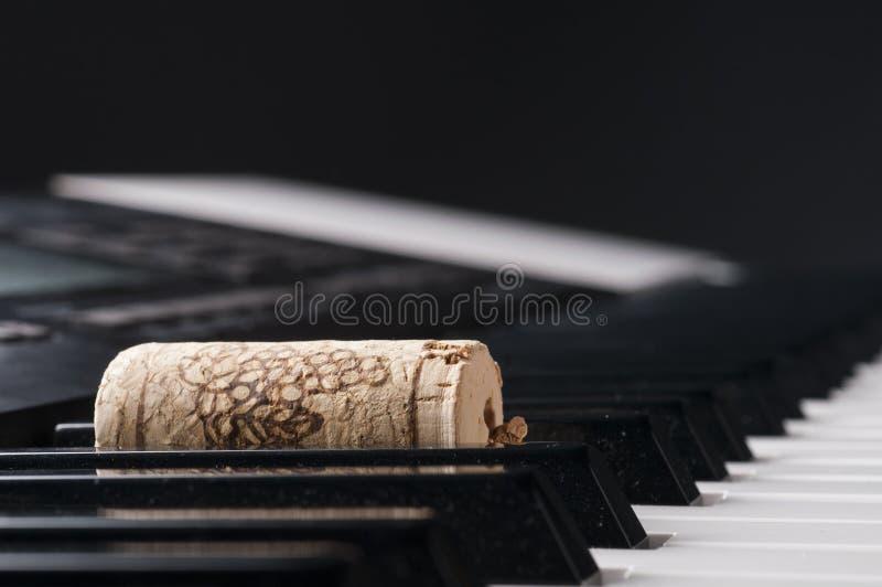 Cortiça do vinho no teclado de piano foto de stock