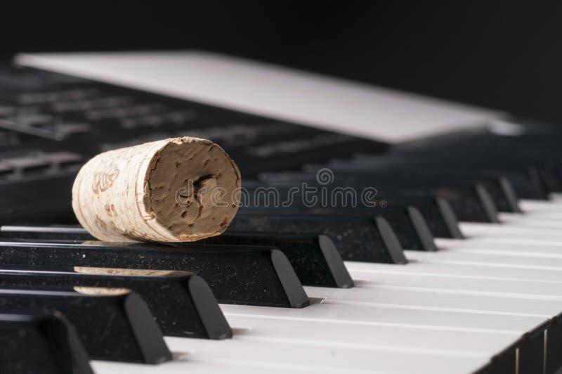 Cortiça do vinho no teclado de piano fotos de stock