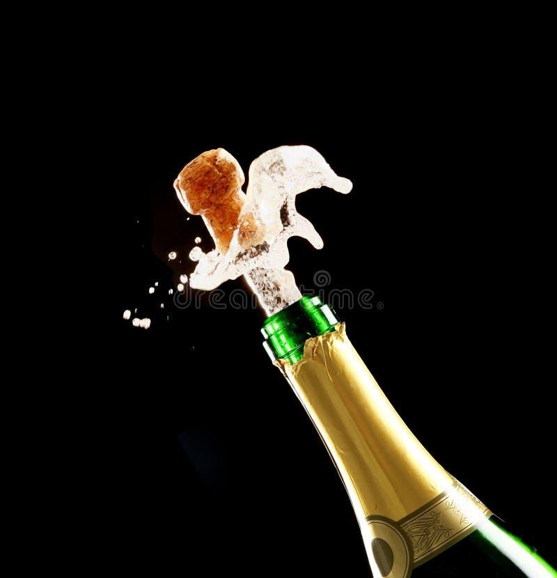 Cortiça e frasco de Champagne fotografia de stock