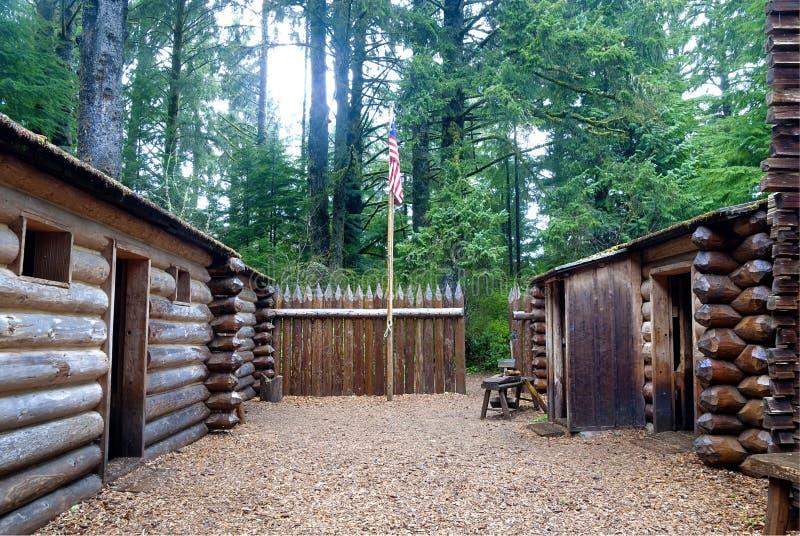 Cortile alla fortificazione Clatsop Oregon fotografia stock libera da diritti