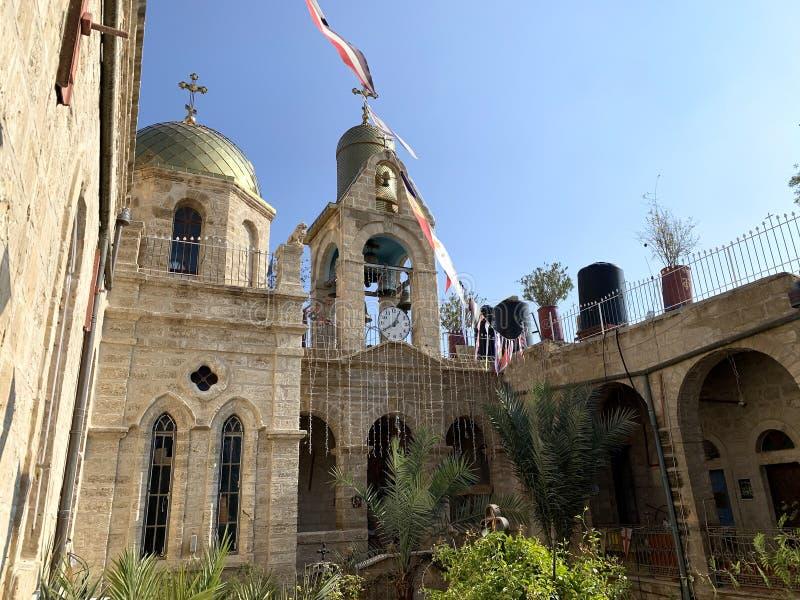 Cortile del monastero di Gerasim, Giordania immagine stock libera da diritti