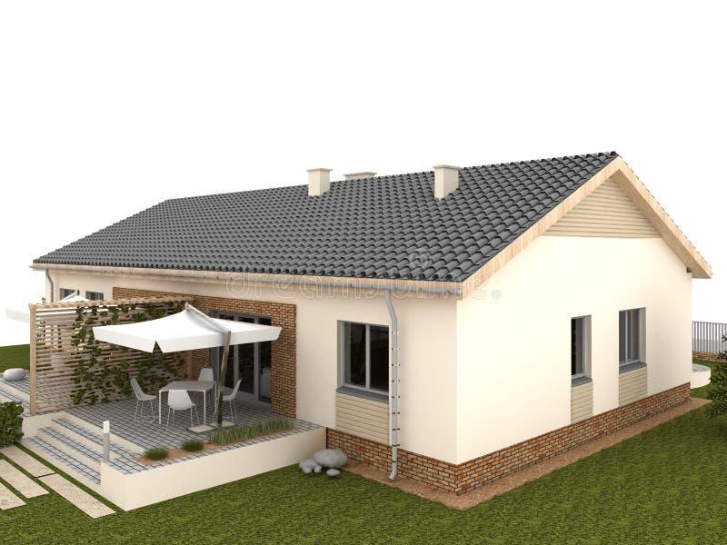 cortile della casa classica con il terrazzo ed il giardino