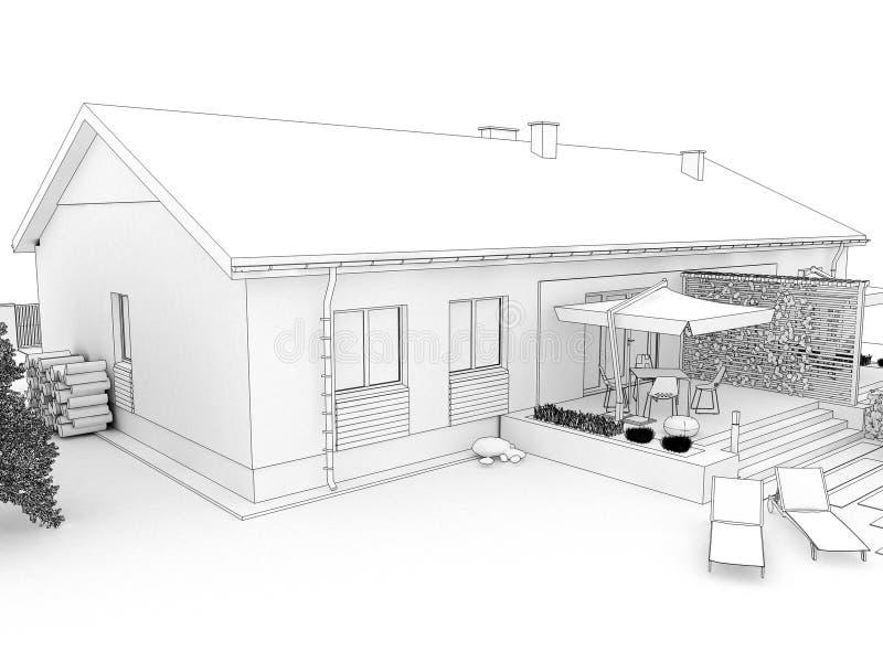 Cortile della casa moderna con il terrazzo illustrazione for Architettura moderna della casa