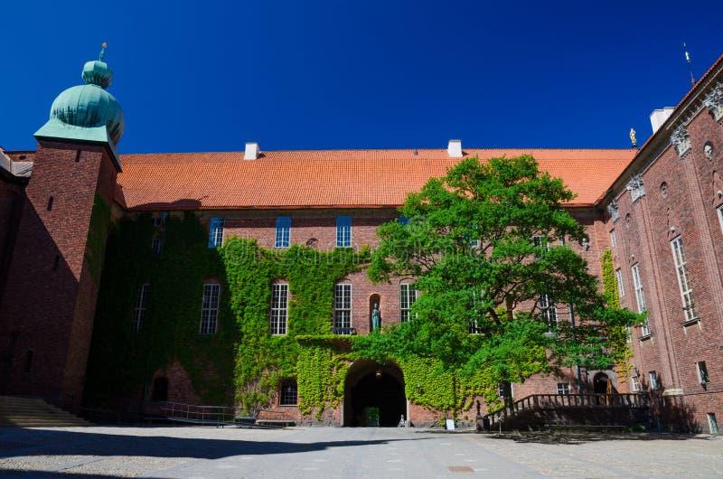 Cortile nella città Hall Stadshuset, Svezia di Stoccolma immagine stock libera da diritti