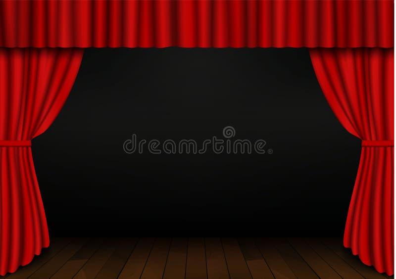 Cortina abierta del rojo con el piso de madera en teatro Vector de la cortina del cine de la tela del terciopelo Cortinas abierta stock de ilustración