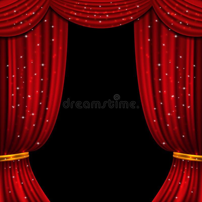 Cortina abierta del rojo con las luces que brillan Fondo del vector ilustración del vector