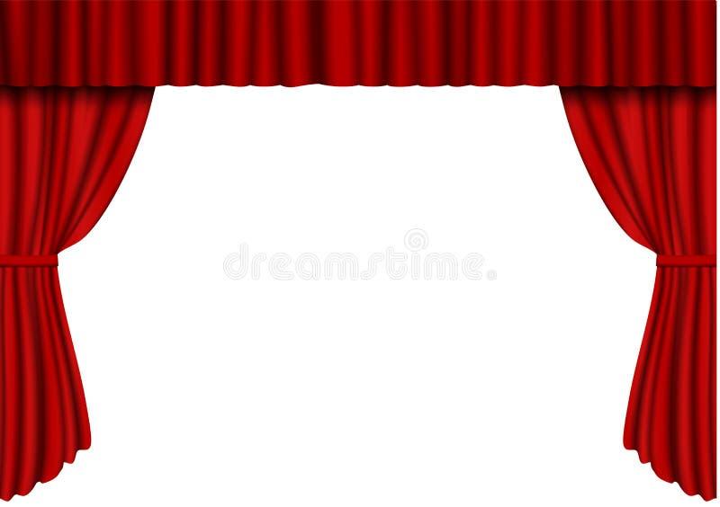 Cortina abierta del rojo en teatro Vector de la cortina del cine de la tela del terciopelo aislado en blanco Cortinas abiertas stock de ilustración
