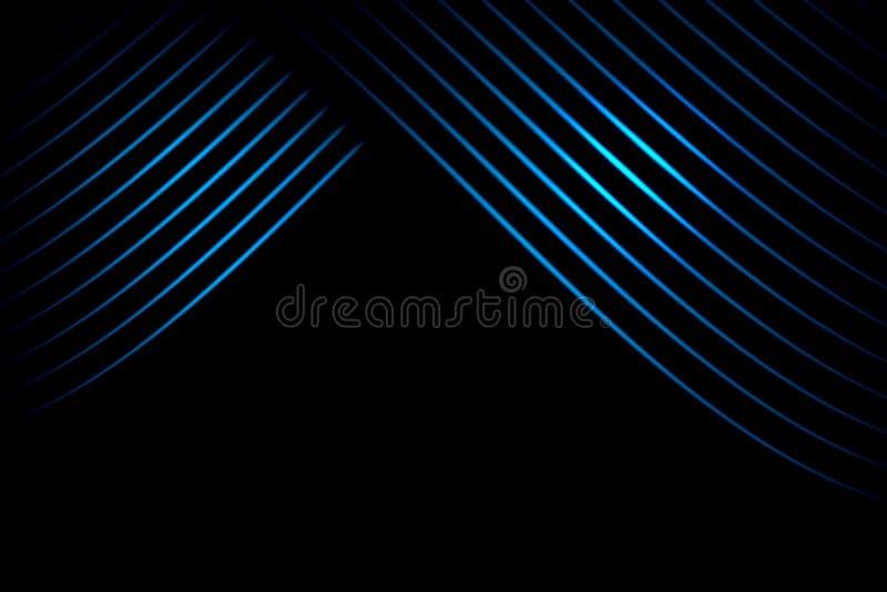 Cortina abstrata da fase com linhas curvadas azuis no fundo preto ilustração do vetor