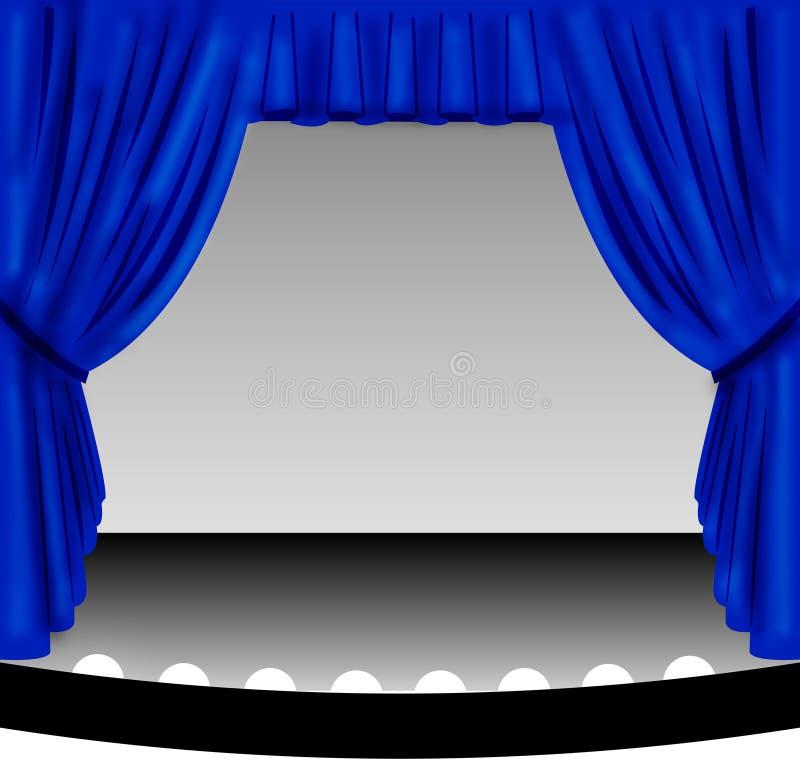 Cortina azul do estágio ilustração royalty free