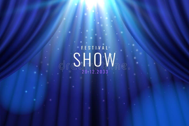 Cortina azul do teatro com luzes como a bandeira da mostra ilustração stock