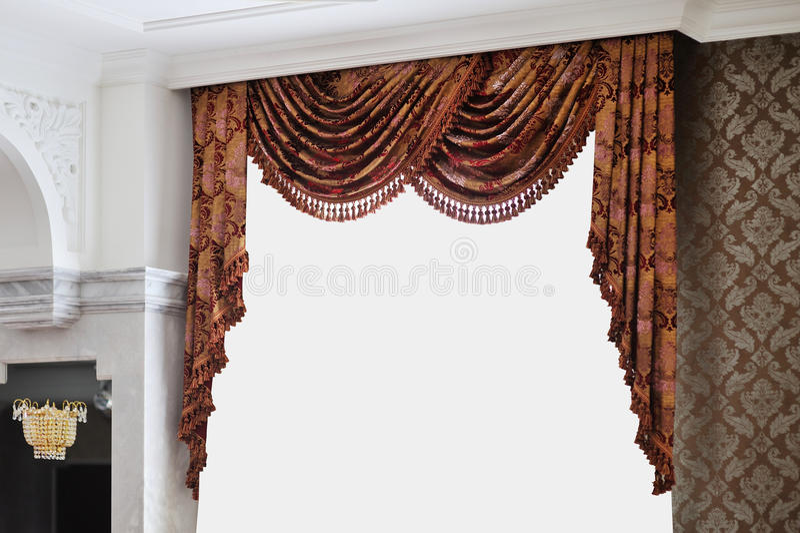 Cortina bonita do vintage em uma sala luxuoso imagem de stock