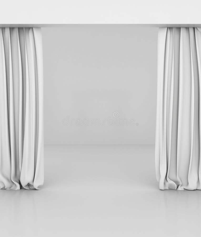 A cortina branca vazia ou drapeja no fundo branco-cinzento fotos de stock