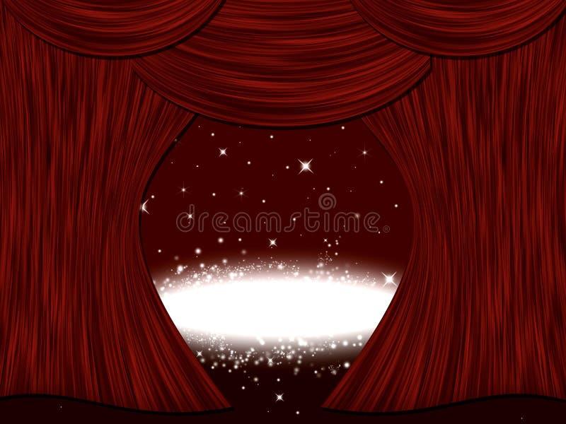 Cortina da fase do teatro ilustração stock