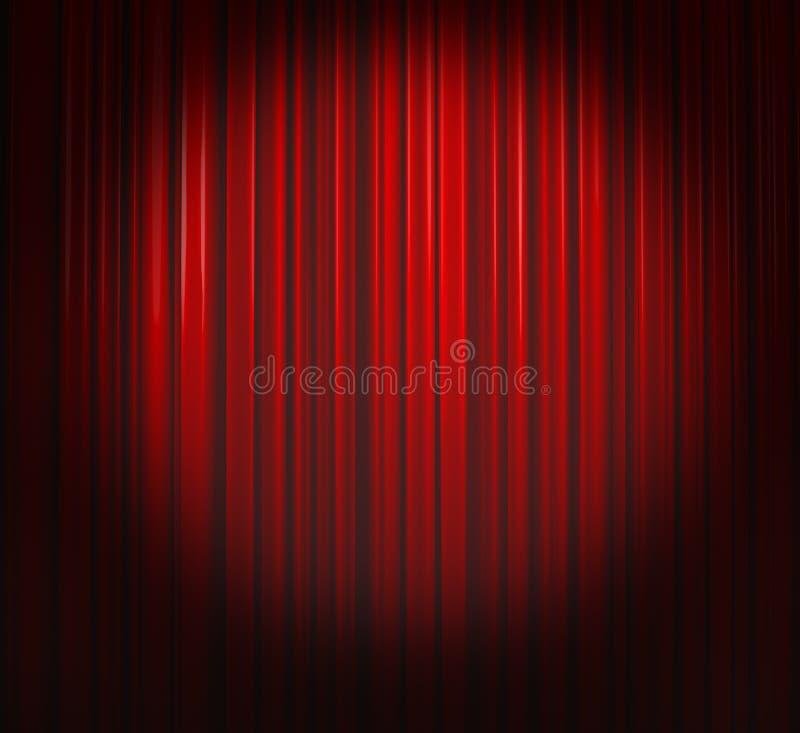 Cortina de color rojo oscuro con el proyector ilustración del vector