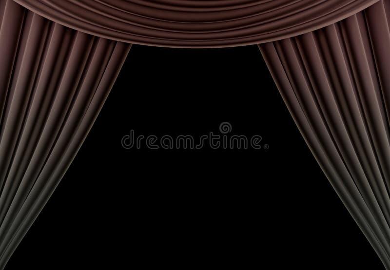Cortina de la belleza de un teatro clásico aislado en fondo negro 3d rinden fotografía de archivo libre de regalías