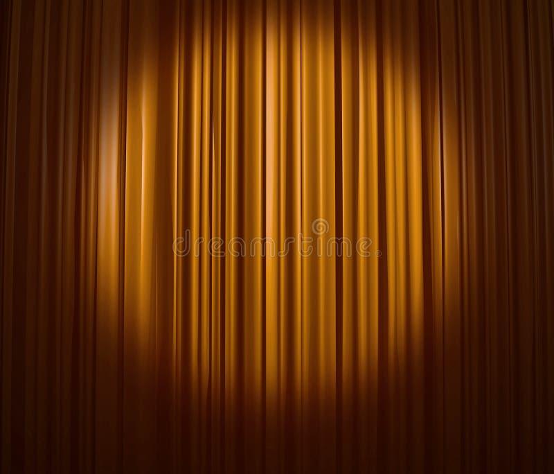 Cortina de oro con el proyector stock de ilustración