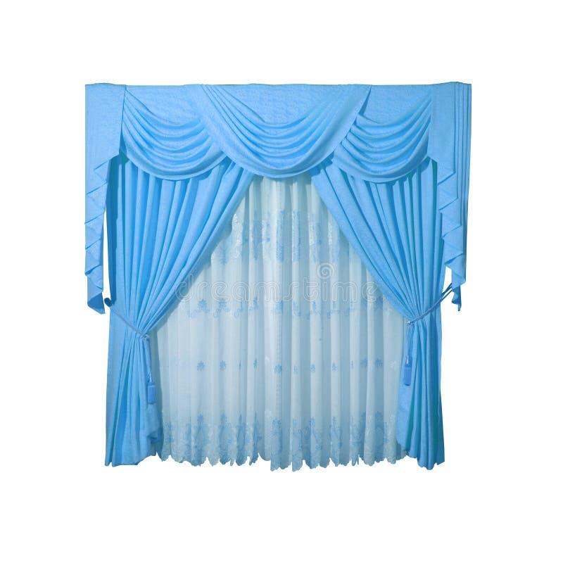 Cortina de ventana azul foto de archivo
