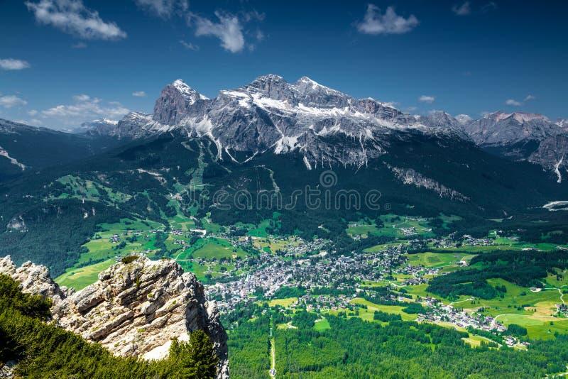 Cortina di A'mpezzo and mountains stock image