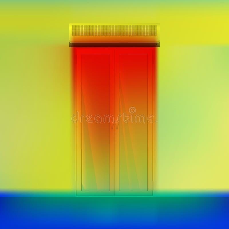 Cortina do abeto acima da porta ilustração do vetor