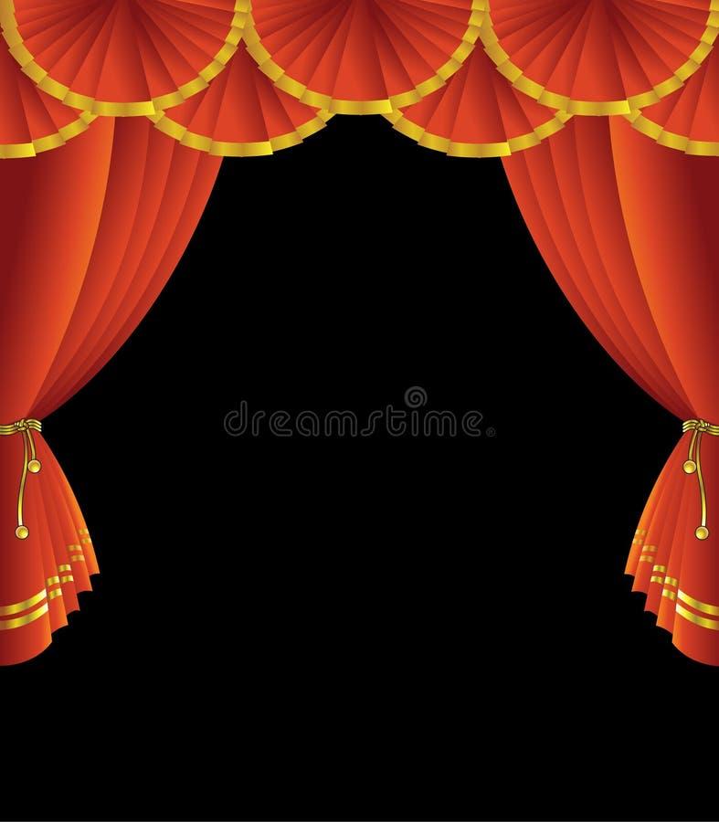Cortina do estágio do teatro ilustração royalty free