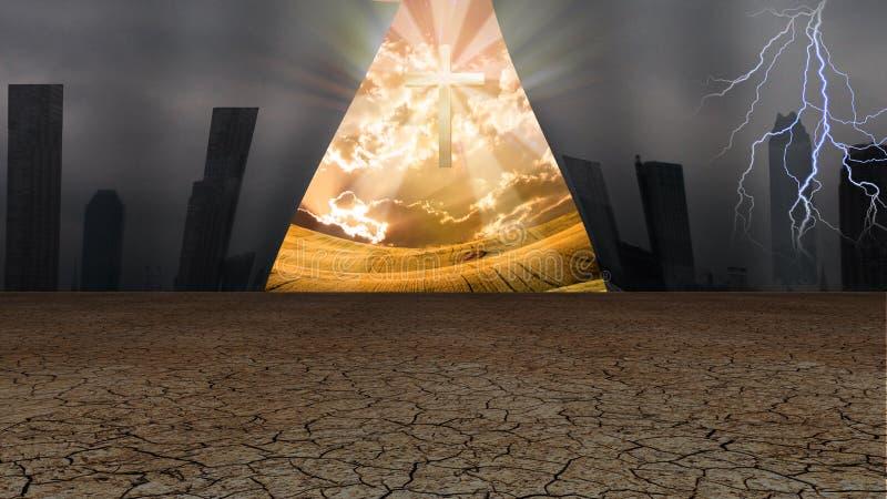 A cortina do mundo de Dystopic abre para revelar uma cruz e um o shinning ilustração stock