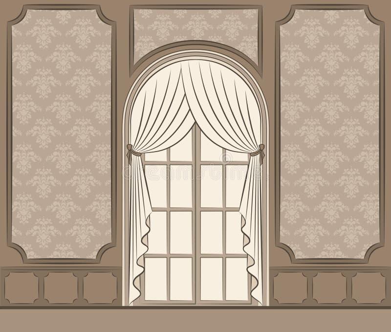 A cortina do vintage. ilustração do vetor