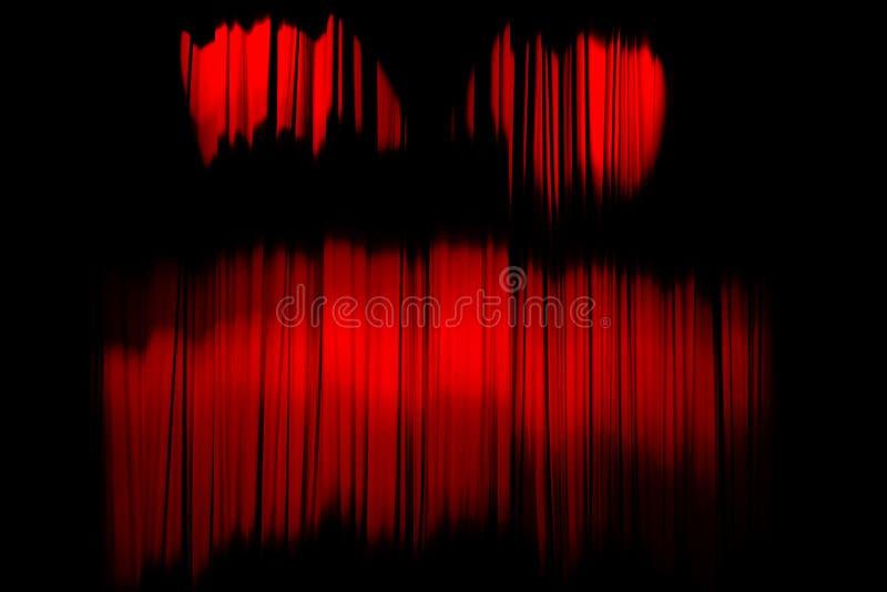 Cortina listrada vermelha no fundo elegante da textura do teatro como uma cara terrível Imagem abstrata do horror imagem de stock