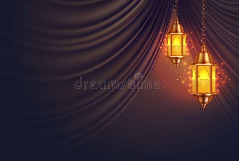 Cortina realística da lanterna do kareem de ramadan do vetor ilustração stock