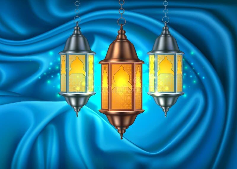 Cortina realística da lanterna do kareem de ramadan do vetor ilustração royalty free
